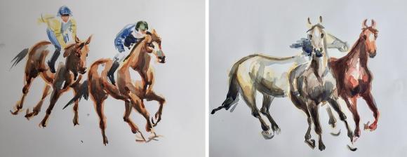Marie-Louise Winbladh målar i flera tekniker, bland annat akvarell och olja. Här är två av de akvareller hon kommer att visa på Bro Park den 27 oktober.