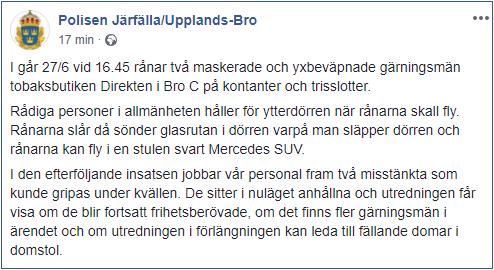 Skärmdump från Polisens FaceBooksida.