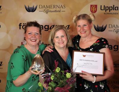 Sussanne persson, Sari Lindstedt och Malin Winberg fick pris som Årets Inspiratör 2018 på Upplands-Brogalan i våras.