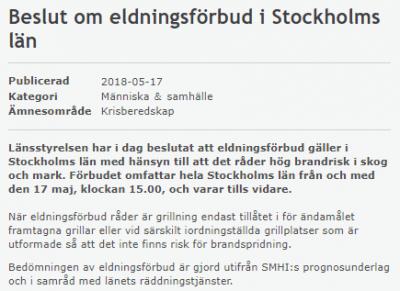 Skärmdump från Länsstyrelsen i Stockholms hemsida den 17 maj.