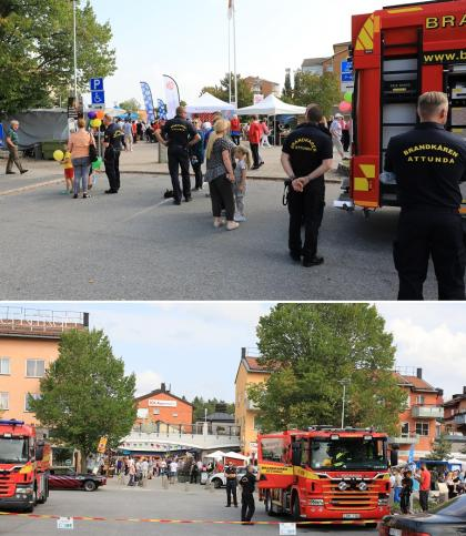 Brandkåren och Kockbacka Moterklubb är grannar i Bro - så även här på Fest i Byn när de visade upp sina åk.