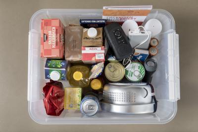 Konserver, té, kaffe, mjöl och gryn, torkad frukt, frön och nötter, matolja, torrjäst, linser och bönor med mera är bra livsmedel att ha i sin krislåda. Där bör också finnas ficklampa, batterier, batteri- eller soldriven radio, kanske ett spritkök, vatten med mera.