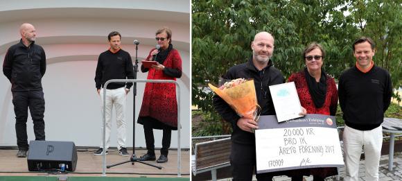 ÅRETS FÖRENING 2017 blev Bro IK. Daniel Riesterer, vice ordförande i Bro IK, tog i samband med Fest i Byn i september emot ett stipendium från Sparbanken Enköpings Kungsängenschef Henrik Roempke och vice ordförande Catharina Andersson.