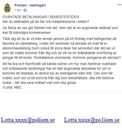 Skärmdump från Polisens Facebooksida Polisen - Bedrägeri