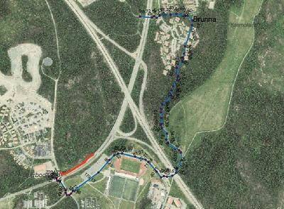 Den rödmarkerade gång- och cykelbanan kommer att stängas av under arbetet. Vi hänvisar till alternativ, blåmarkerad väg.