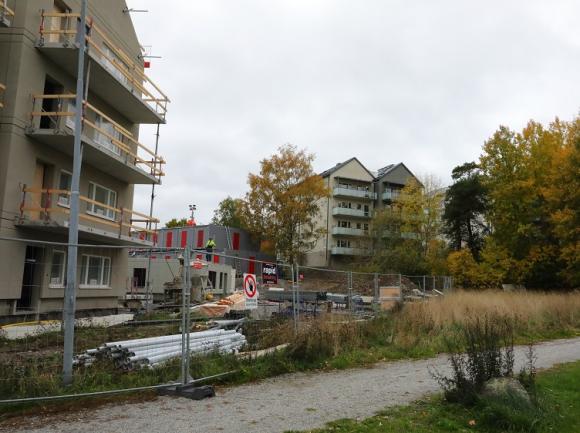 Grönområdet innanför Målarvägen och Bagarvägen är så gott som orört så det är härligt lummigt och uppvuxet redan nu när de första hyresgästerna kan börja flytta in.