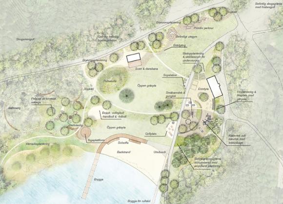 Illustration över Lillsjön med de några av de föreslagna aktivitetsplatserna. Via länken nedan kommer du till kommunens hemsida där illustrationen går att se i större format.