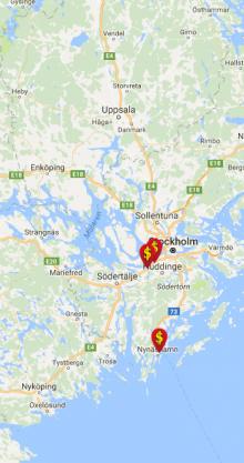 Skärmdump från DollarStores hemsida. Butiker i Stockholmsområdet och Mälardalen.