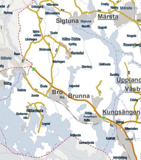 Skärmdump från Trafikverkets hemsida.<br />Trafikverket ansvarar för en del av snöröjningen i kommunen. Förutom E18 så har de bland annat ansvar för Håtunavägen samt delar av Gamla Enköpingsvägen (från Bro till länsgränsen mot Håbo).
