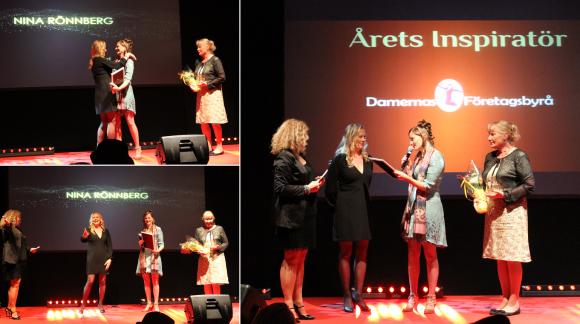 Nina Rönnberg fick ta emot priset Årets Inspiratör. Prisutdelare var Lena Malmsten Bäverstam och Anette Bruhn från Damernas Företagsbyrå.