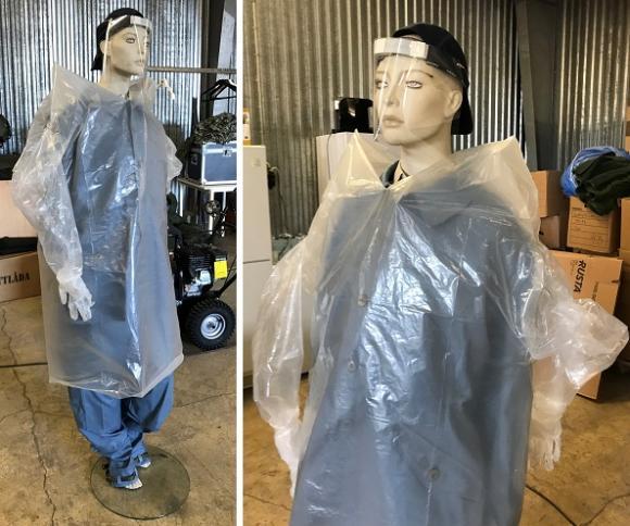 Så här ser den skyddsutrustning ut som FRG just nu tillverkar för att hjälpa vårdpersonalen inom kommunal verksamhet.