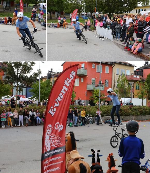 Trix och pix på fartfylld cykeluppvisning.