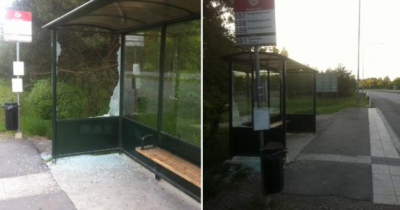 Busskuren vid Musikvägens busshållplats utsattes för skadegörelse i helgen.