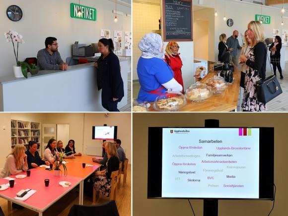 Integrationsstödjaren Moslim och kommunstyrelsens ordförande Camilla Janson i samspråk vid hjälpdisken i Café Nyfiket. Vesna Jovic i samspråk med två av Café Nyfikets sex anställda.Rahaf och Medina berättar att de är mycket glada över att ha fått ett första arbete.