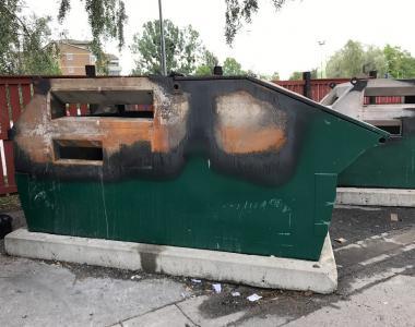 Bilden är tagen dagen efter containerbranden den 10 augusti 2017.