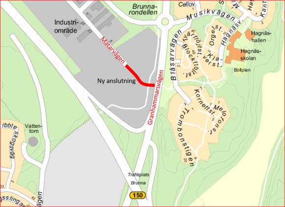 Den nya sträckningen av Mätarvägen blir en ny infart till Brunna industriområde från Granhammarsvägen.