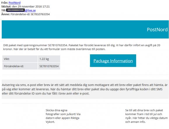 Så här kan mejlet från PostNord se ut. Många beställer varor på internet inför jul och väntar på försändelser - något som bedragarna räknar med.