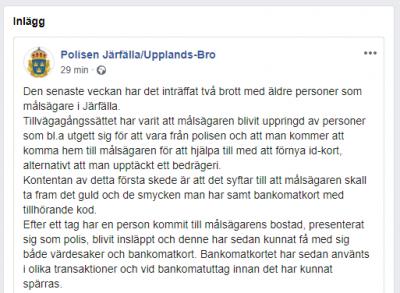 Skärmdump från polisen i Järfälla och Upplands-Bros FB den 30/1-20.