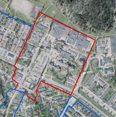 Inringat i rött är det område i centrala Bro som eleverna nu får möjlighet att utveckla. Bara fantasin och respektive scenario sätter gränser.