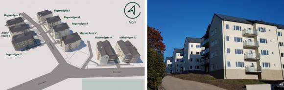 Bagarvägen och Målarvägen i Bro. Första inflyttningslassen kommer inom kort. Hyreslägenheterna, sammanlagt 178 stycken, ersätter de 95 lägenheter från sextiotalet som revs i januari 2015 på grund av radonproblem.
