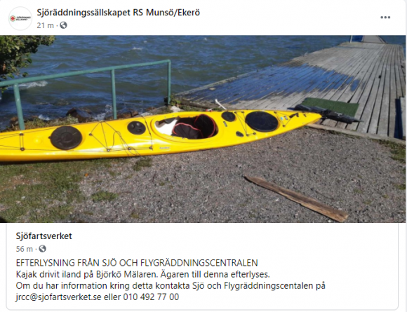 Skärmdump från Sjöräddningssällskapet RS Munsö/Ekerös FaceBooksida<br />