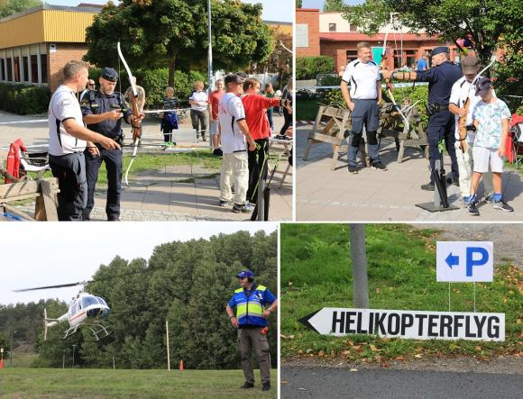 Man skulle kunna tro att polisen testar nytt tjänstevapen, men så var det inte... Kungsängens Bågskytteklubb visade upp sig på årets Fest i Byn. För den som ville fanns möjlighet till en flygtur med helikopter över Bro med omnejd.