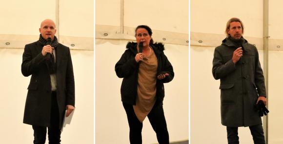 Dagens talare: Andreas Wik från byggherren NCC, Camilla Janson från Upplands-Bro kommun samt Pirre Wernlundh från Cosentino, en av de blivande hyresgästerna i Lyckobrunnen.